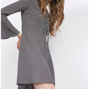 Zara Woman Black Polka Dot Bell Sleeve Dress Med.